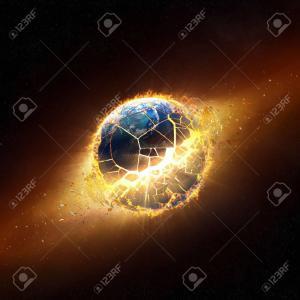 27574673 planete terre exploser avec des flammes qui brulent